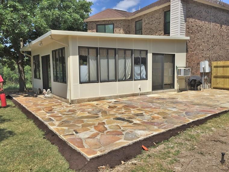 Flagstone in Concrete Patio
